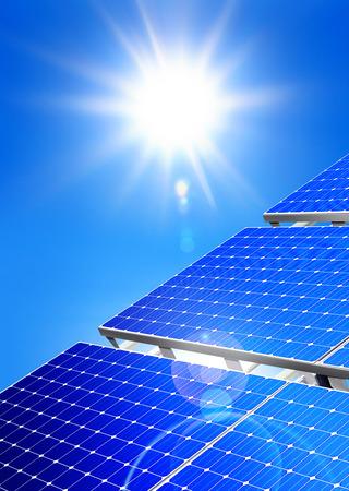 solarpanel: Renewable, alternative solar energy, sun-power plant on sky background Stock Photo