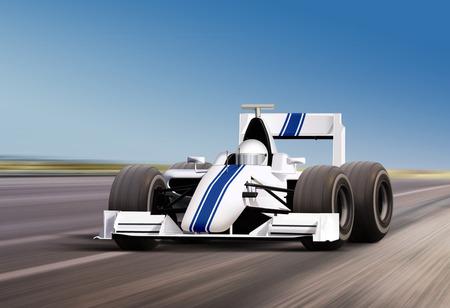 formula one: formula one race car on speed track - motion blur