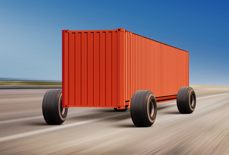 thoroughfare: container moving on road, cargo transportation Stock Photo