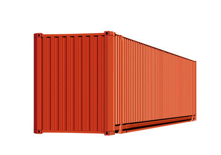 shipped: Orange container for cargo transportation isolated on white background with path