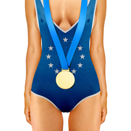 unbeatable: body of woman in swimwear like Euro flag with medal on white background