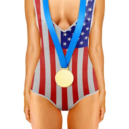 olympian: Part of American woman body wearing gold medal