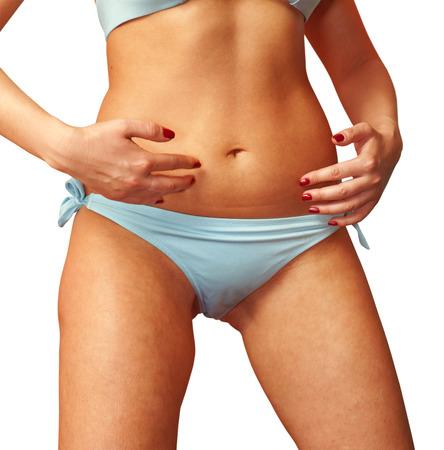 femme sous vetements: Forme Gros plan d'une femme sur fond blanc