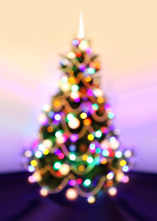 new year tree: Background of New Year, Christmas tree with defocused lights.
