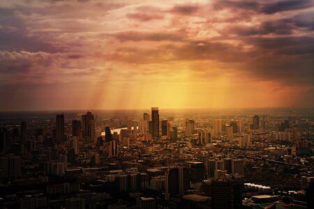 viewport: Aerial view of streets and buildings, Bangkok City. Thailand.