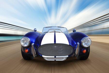 progressive: sport race car on speed track - motion blur