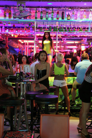 PATTAYA, THAILAND - DECEMBER 13: Nightlife on walking street on December 13, 2013 in Pattaya.