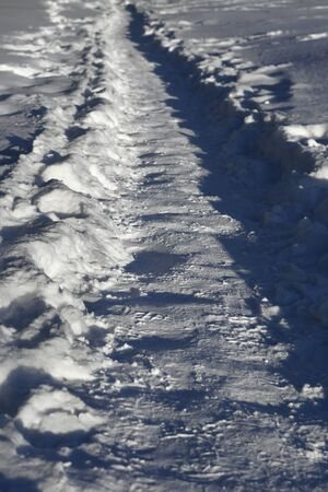 december: Snow covered path lined at december