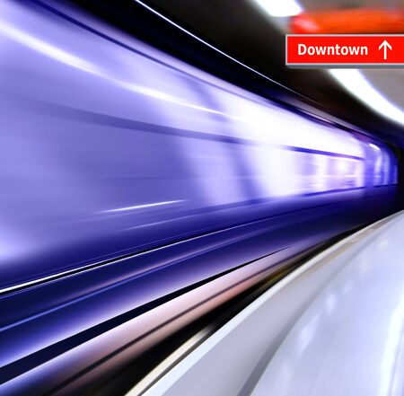 streamlined: super streamlined train with motion blur moves in subway