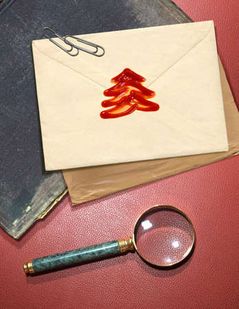 memorable: Christmas message with wax seal and other documentation on retro background