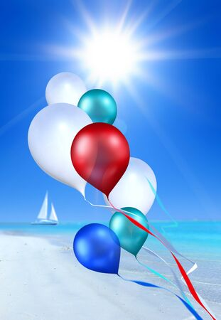whiff: toy balloons soaring in the blue sky over sea