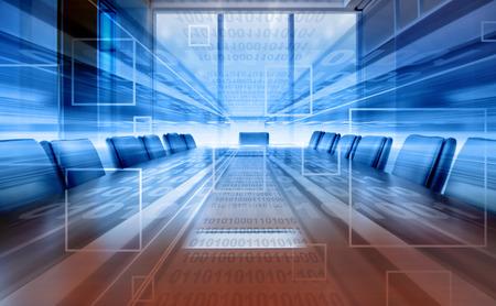 デジタル会議室、近代的なオフィスの投影