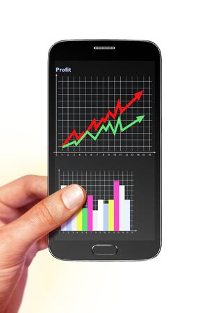 supervise: smartphone with diagram of profit on screen in hand