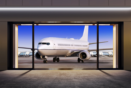 expects: passenger plane expects tourists at airport