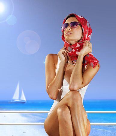 kerchief: High fashion urban portrait of woman in sunglasses and kerchief Stock Photo