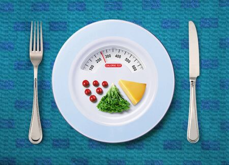 intake: view of calorie tot in food that on white plate