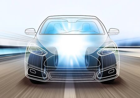 adaptable: design of advanced car and wheels rushes on road with high speed Stock Photo