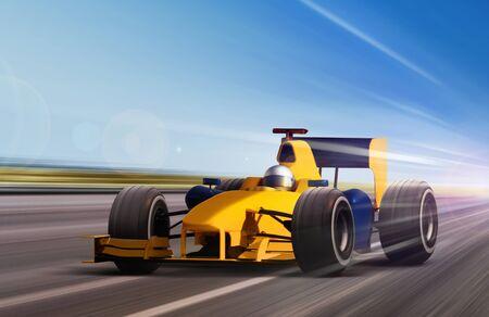 progressive: race car on speed track - motion blur