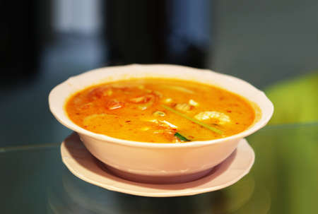 sour grass: Tom yam is a Thai soup, usually cooked with shrimp