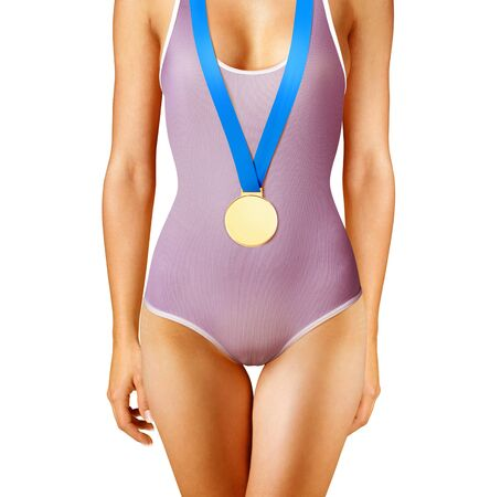 unbeatable: Part of beautiful winner wearing gold medal, isolated on white
