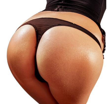 closeup beautiful fatty buttocks of woman Stock Photo