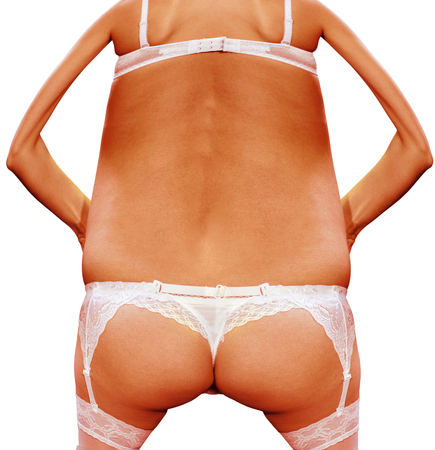sexual anatomy: close up back of beautiful woman in white panties, comic modification