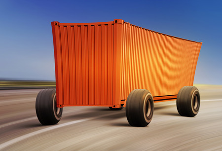 travesty: cartoon container moving on road, cargo transportation Stock Photo