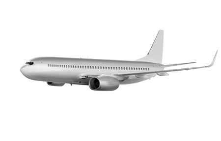 commercials: big commercial plane on white background