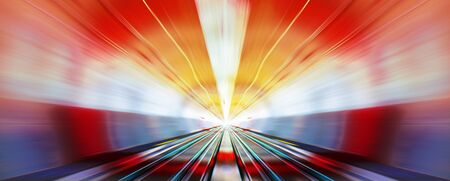 dazzling: driving at high speed in subway - motion blur