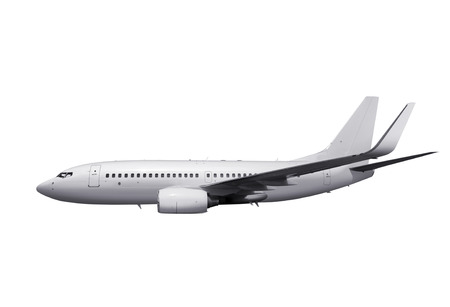 fuselage: commercial airplane on white background with path