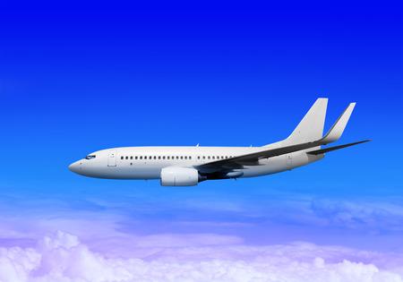 postponed: white passenger airplane in the heaven landing away