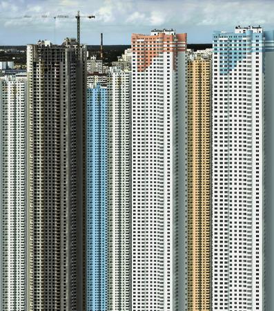 housebuilding: Grandiose building of new microdistrict in Kiev city Stock Photo