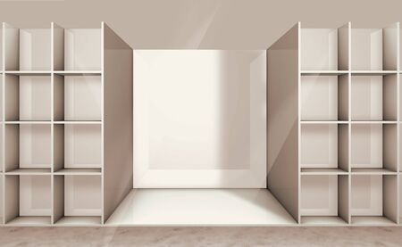 forepart: 3D illustration of empty shelf on the department store