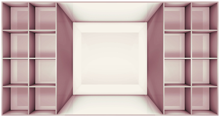 forepart: 3D illustration of empty furniture on the department store Stock Photo