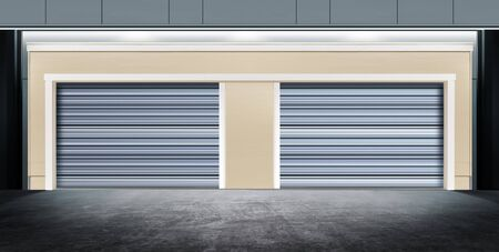 barndoor: modern closed garage with metal door on street of city at night time Stock Photo