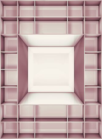 storage box: 3D illustration of empty furniture on the department store Stock Photo