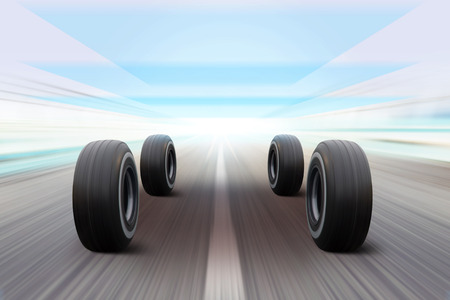 3D illustration of tires on road in movement