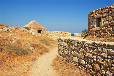 wall in Firka fortress at sun day, Crete.
