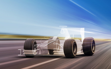 sport car outline and wheels rushes on road with high speed Stock Photo