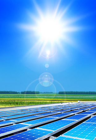 solar cell array in the field, renewable energy Stok Fotoğraf - 80001045