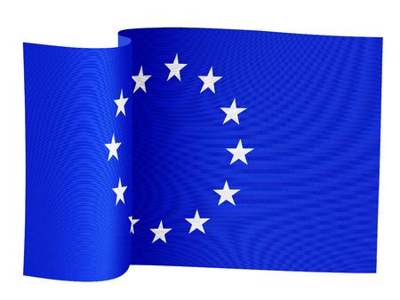 白い背景に欧州連合の旗のイラスト