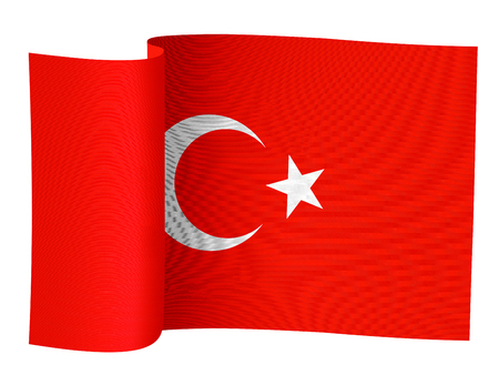illustration of the Turkish flag on a white background