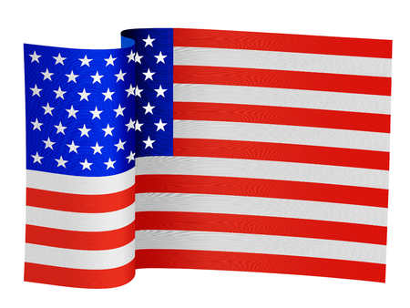 illustration of the USA flag on a white background Stock Photo
