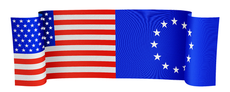 illustration of the USA and EU flags on white background