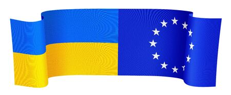 illustration of the UA and EU flags on white background