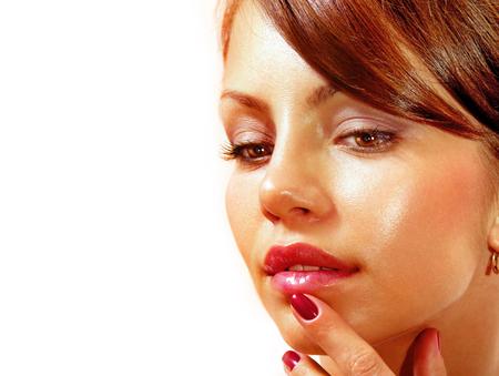 beautiful face isolated on white background photo