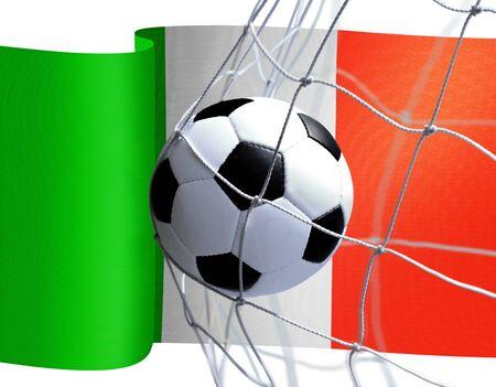 la: soccer ball in goal net on Italian flag background