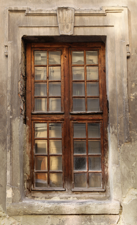 the decorated window of the old building