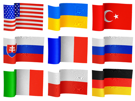 internationally: illustrations of flags of the different countries