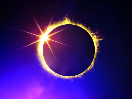 illustration of solar eclipse, enlarged view in the Universe Stock Photo